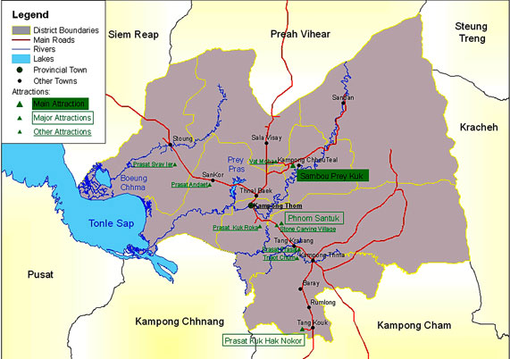 Kampong Thom Cambodia  city photos : Cambodia Maps Cambodia Travel Map Southeast Asia Map